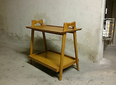 Vintage French Mid-Century Solid Oak End Side / Cocktail Buttler Table Modern