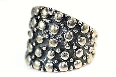 "D388 Dots Raised Relief Sterling 975 1"" wide top Ring Size 10 1/2"