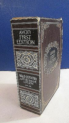VINTAGE Men's AVON FIRST EDITION Wild Country After Shave BOOK BOX & Bottle ~NOS