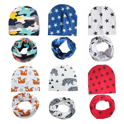 1 Set Baby Hat Scarf 100% Cotton Soft Cap Collar Spring Beanies Scarf Neck Ring