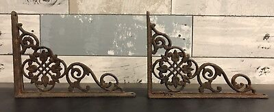 Pair Antique Cast Iron Victorian Shelf Brackets Vintage Hardware Floral Design