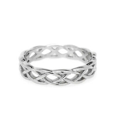 Womens Braided Ring Celtic Weave Stainless Steel Love Unique Wedding Band