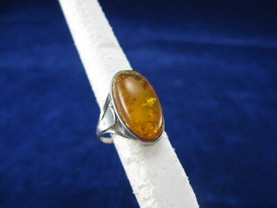 Vintage Antique Art Deco Sterling Silver 925 Baltic Amber Ring Hallmarked