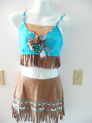 Custom made brown and teal Indian competition  costume