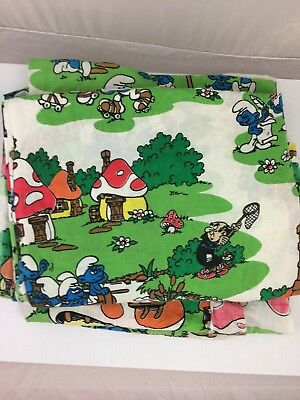 Vtg 80's 90's SMURF Twin Fitted Sheet Cutter Fabric Quilt Gargamel Mushroom