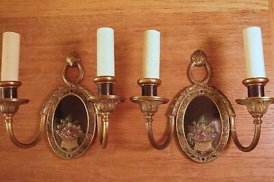 Enameled Back Plate Pair of Bronze Classical Design Sconces Wall Lights.