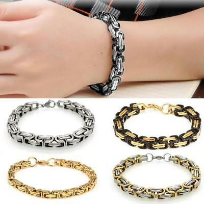 Men Byzantine Box Chain Link Stainless Steel Wristband Fashion Bracelet Bangle
