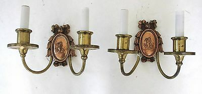 Two E. F. Caldwell Bronze Sconces With Winged Putti Tending to Fire!