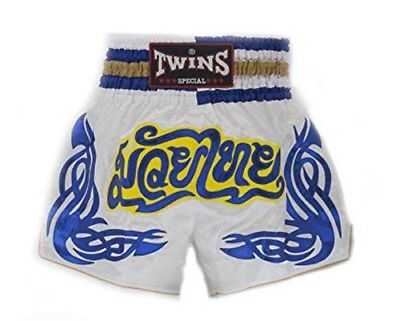 Twins Special Muay Thai Boxing Shorts White Blue