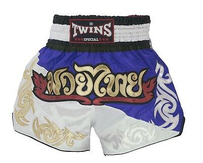 Twins Special Muay Thai Boxing Shorts Due Blue White