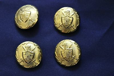 Vintage 4 Shank Buttons Gold Tone Metal Eagle with Shield