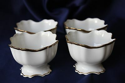 Vtg Footed Small Bowls Scalloped Trim Gold Rim & Base White Porcelain Germany