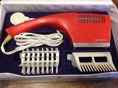 BRT Vintage Retro Red GE General Electric Hand Hair Dryer in Carry Case + Extras