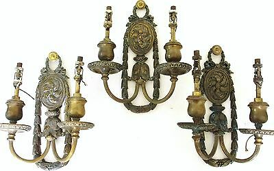 Three (3) E. F. Caldwell French Design Two-Arm Sconces, Wall Lights