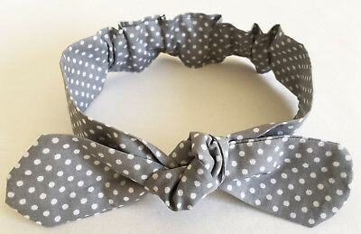 Headband For Baby Girl Grey With Dots Cute And Trendy Handmade In Australia