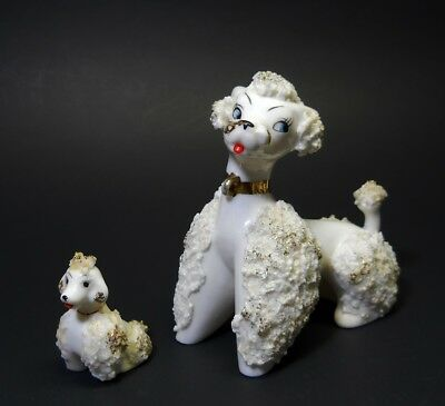 Vintage Poodle Dog Mother Pup Porcelain Spaghetti Lace Figurine Japan