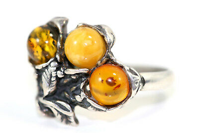 """D391 Amber Genuine Sterling 6mm top 5/8"""" 850 Ring Size 6"""