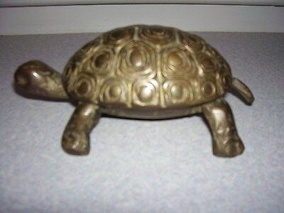 Vintage Brass Turtle with Hinged Lid Trinket Box 6 1/2""