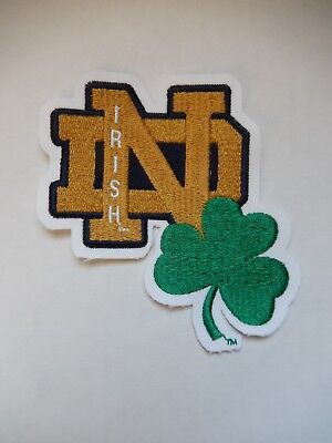 Notre Dame Fighting Irish Embroidered Patch ND Clover Logo Stitched New Vintage