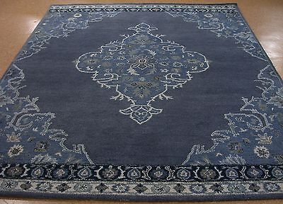 9 X 12 Pottery Barn Bryson Navy Persian Style New Hand Tufted Wool Rug