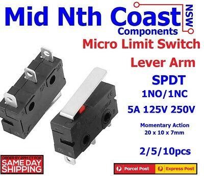 2/5/10 x Mini Micro Limit Switch Lever Arm 5A 125V 250V SPDT Snap Action