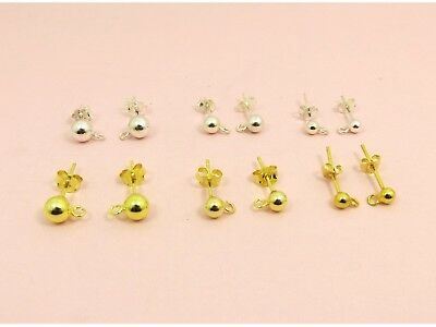 1 pair x 925 Sterling Silver BALL Ear Post STUDS Earrings with Ring Loop + Nuts