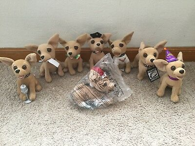 Lot of 8 Taco Bell Plush Chihuahua Dogs