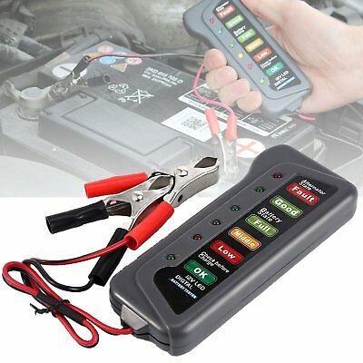 Car Motorcycle Digital Battery Tester Alternator Load 12V Vehicle 6 LED Display