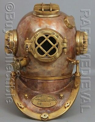 "Morse US Navy Mark V Diving Divers Helmet Copper Brass Full Size 22"" Gift DVS209"