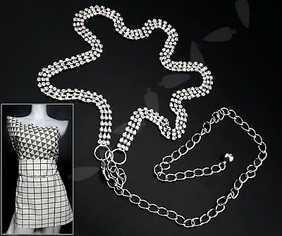 Ladies Silver Rhinestones Diamond 112cm Waist Belt 3Row Charm Chain Fashion