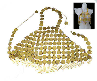 Regular Size Boho Festival Sexy Gold Sequins Vest Body Chain Necklace Beach Club
