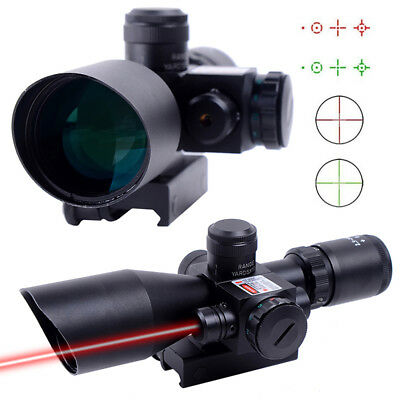 Tactical 2.5-10x40 Red Laser Sight Optic Rifle Scope Illuminated Riflescopes