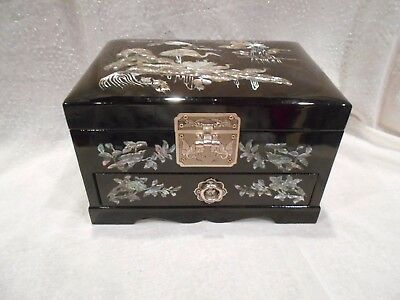 Asian black lacquer jewelry box with drawer - mother-of-pearl cranes/flowers