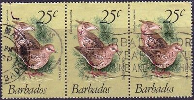 1979 Barbados 25c Scaly breasted ground dove USED Strip of three as scan 18504