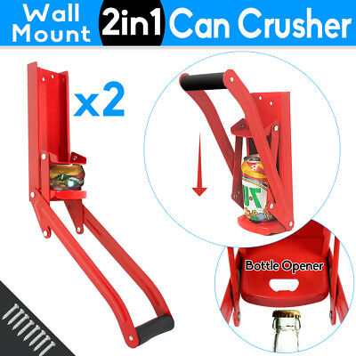 CAN CRUSHER Bottle Opener Recycling Cans Kitchen Ware Soda Beer 16oz Wall Mount