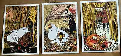 Moomin Postcards from Finland,set of 3, fun characters, Karto Oy yellow