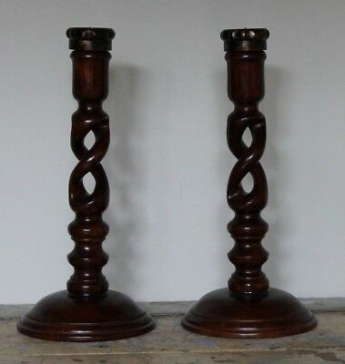 Pair of Barley Twist Candle Holders