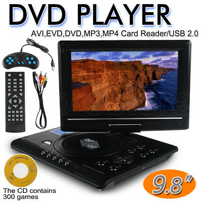 "New 9.8"" mini Portable DVD Player AVI EVD MP4 MP3 JPG Swivel USB SD 300 GAMES OZ"