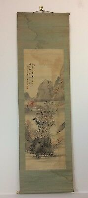 Vintage Chinese hanging scroll, mountains & house, Japan import 177cm (AE1824)