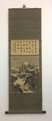 Vintage Chinese hanging scroll, Hanshan Temple, Japan import 142cm (AE1817)