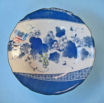 JAPANESE BOWL DISH BLUE ON WHITE hand painted leaves flowers berries decorative