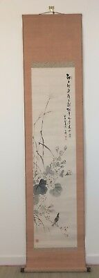 Vintage Japanese kakejiku hanging scroll, bird, Japan import 195cm (W1813)