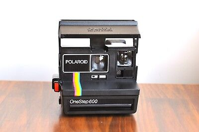 POLAROID OneStep 600  LAND Instant Film  Signature Rainbow stripe!  -Tested