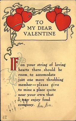 To My Dear Valentine ~ string of loving hearts ~ Arts & Crafts c1910