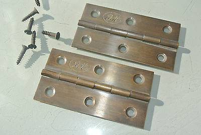 "2 small hinges vintage aged style solid Brass DOOR light restoration 3"" screws"