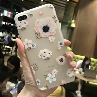 3D Relief Peach Lace Roses Flowers Phone Cases For iPhone 7,8/Plus X