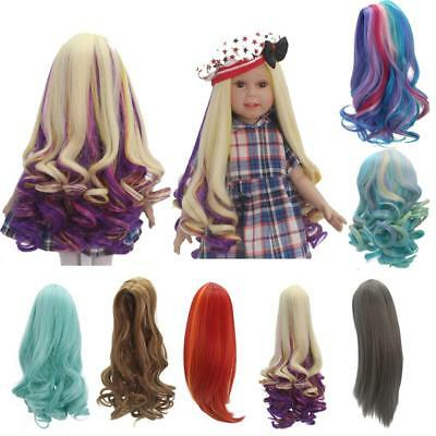 "Fashion Curly/Straight Long Hair Gradient Wig for 18"" American Girl Dolls Making"