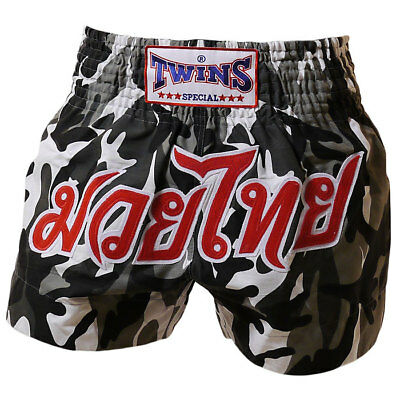 Twins Special Muay Thai Boxing Shorts Army Grey
