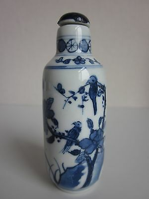 Chinese Blue And White Porcelain Handmade Peony Magpie Snuff Bottle s1302