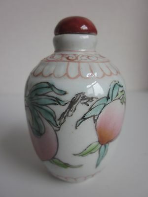Chinese Famille Rose Porcelain Handmade Peaches Snuff bottle  s1296
